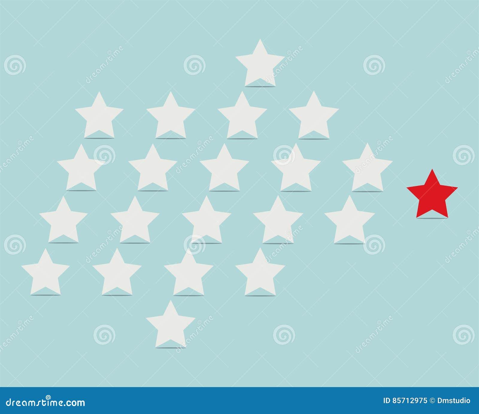 Conceito da liderança com as estrelas que seguem seu líder
