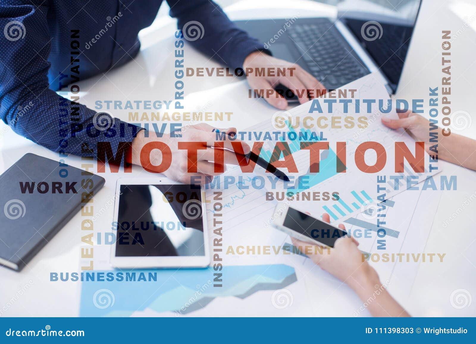 Conceito da motivação na tela virtual Nuvem das palavras
