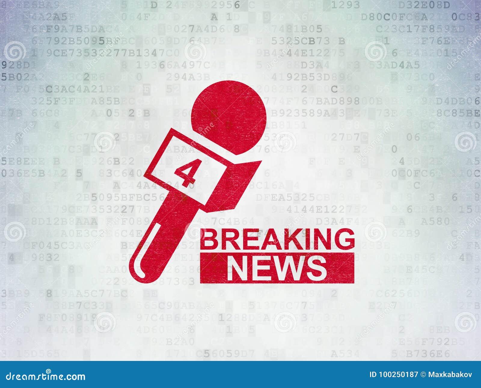 Conceito da notícia: As notícias de última hora e o microfone em dados de Digitas forram o fundo