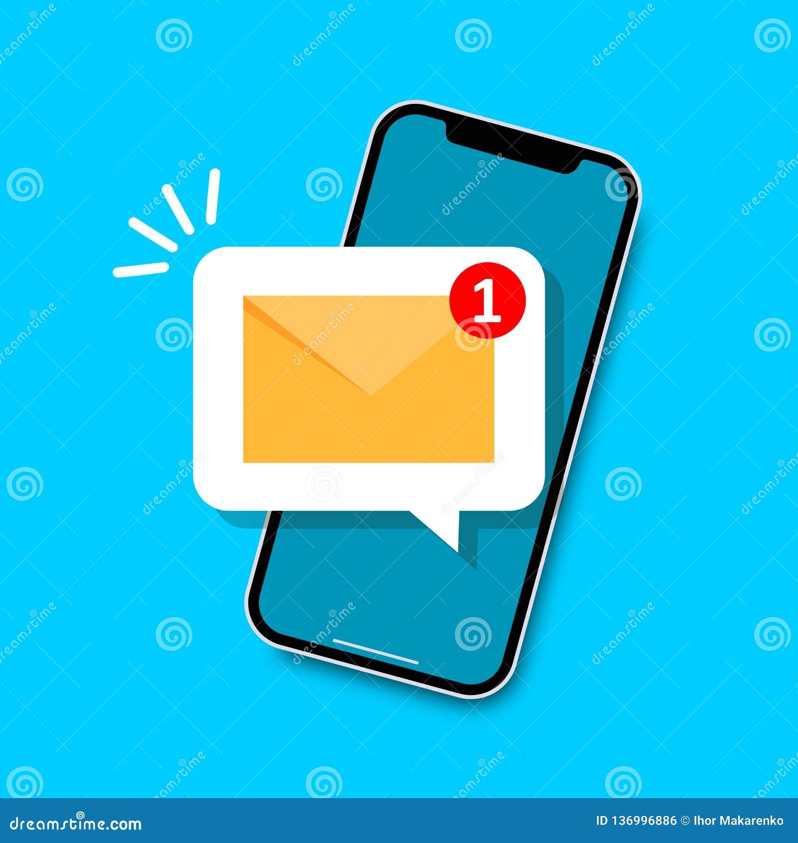Conceito da notificação do email Email novo na tela do smartphone