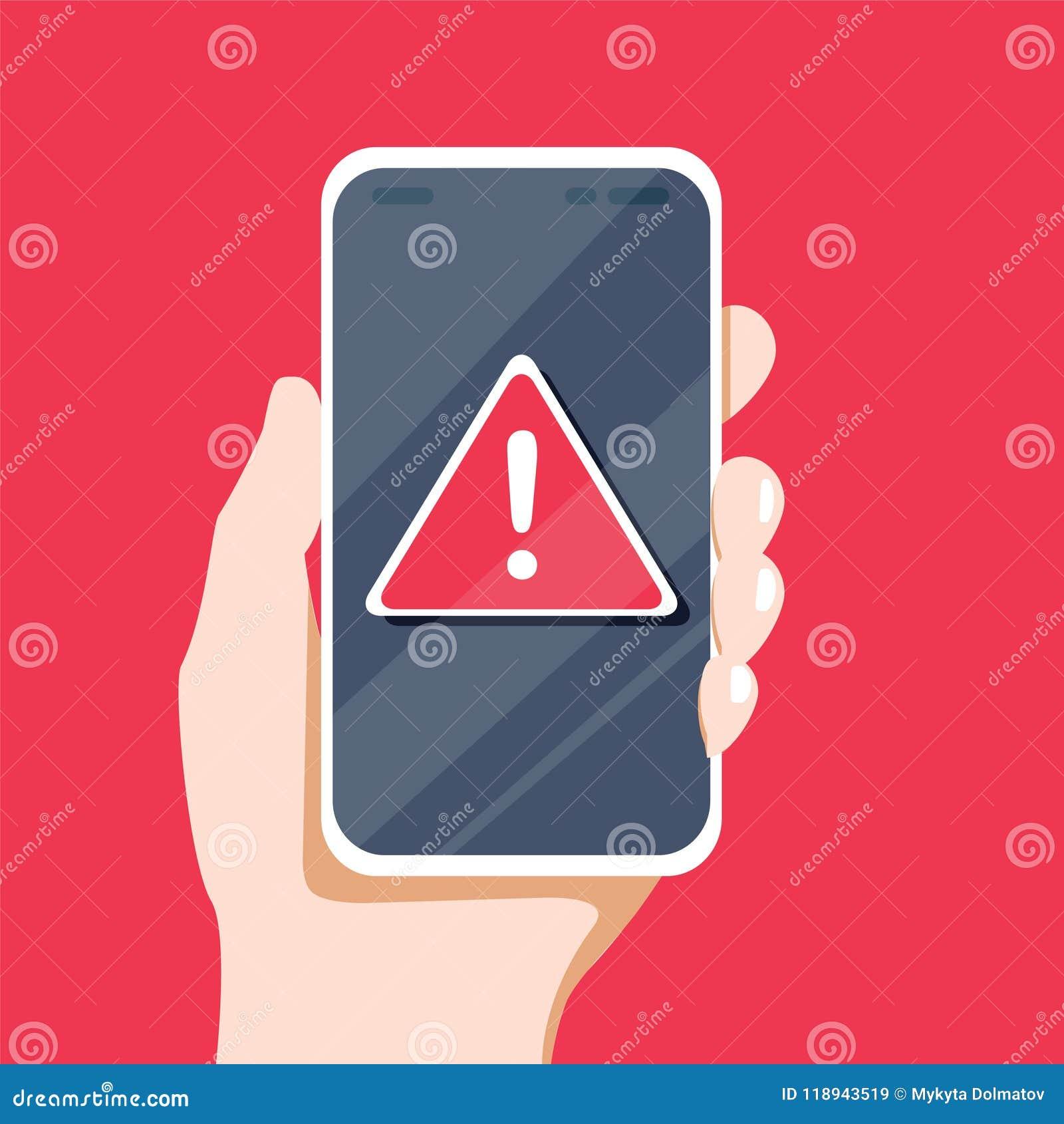 Conceito da notificação do malware ou erro no telefone celular Aviso do alerta vermelho de dados do Spam, conexão incerta