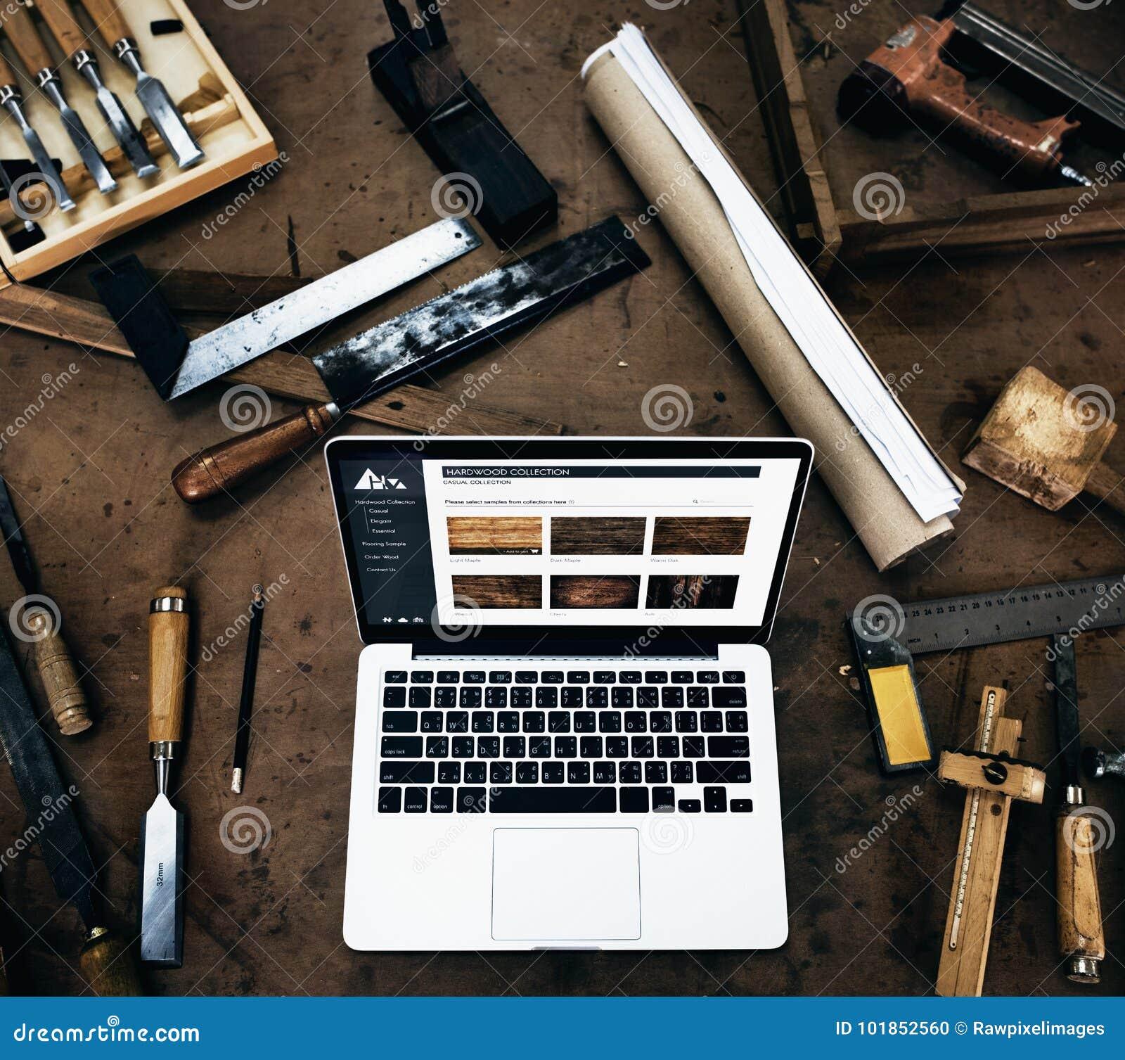 Conceito da oficina de Craftmanship Handicraft Wooden do carpinteiro