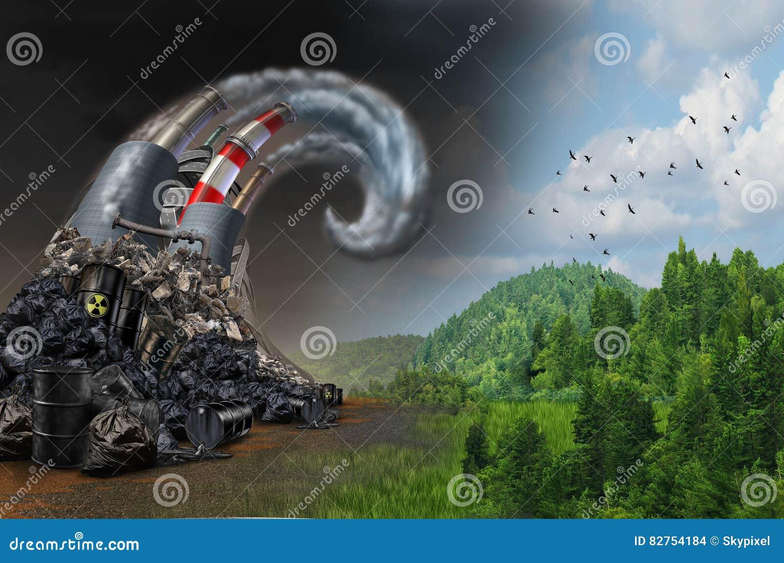 Conceito da onda da poluição