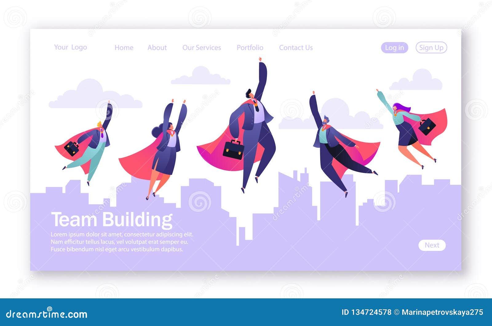 Conceito da página de aterrissagem no tema dos trabalhos de equipe Ilustração do vetor para o desenvolvimento do Web site e o pro