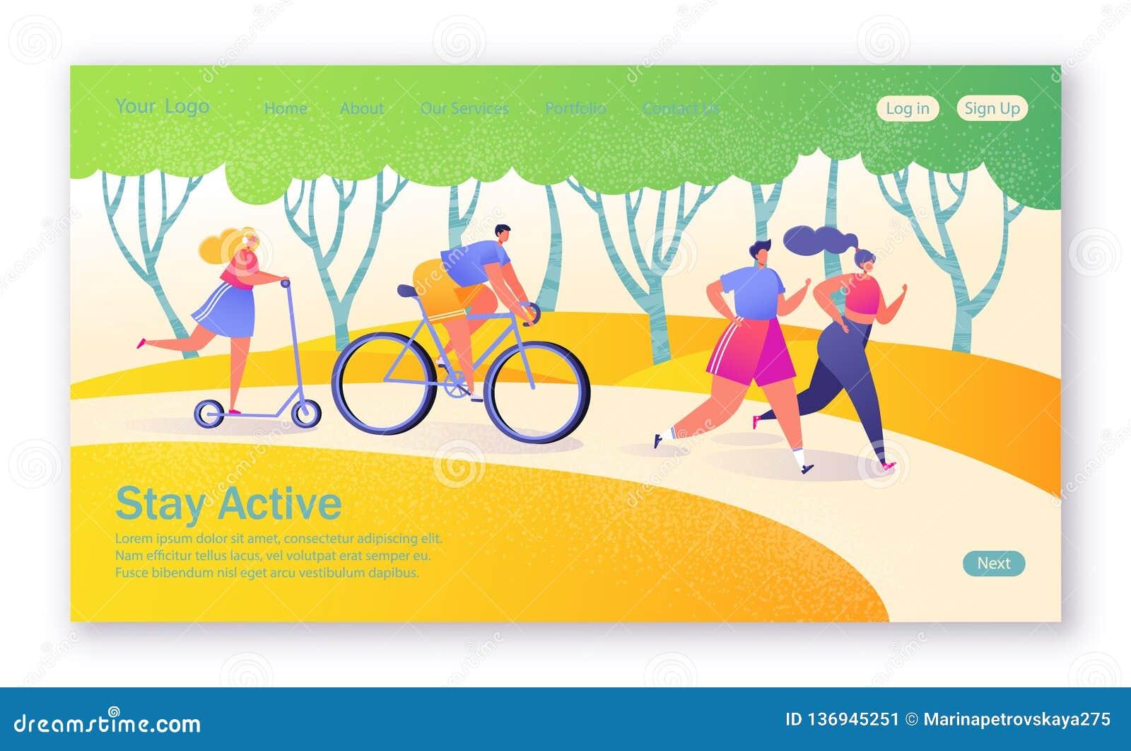 Conceito da página de aterrissagem no tema saudável do estilo de vida Esportes ativos dos povos