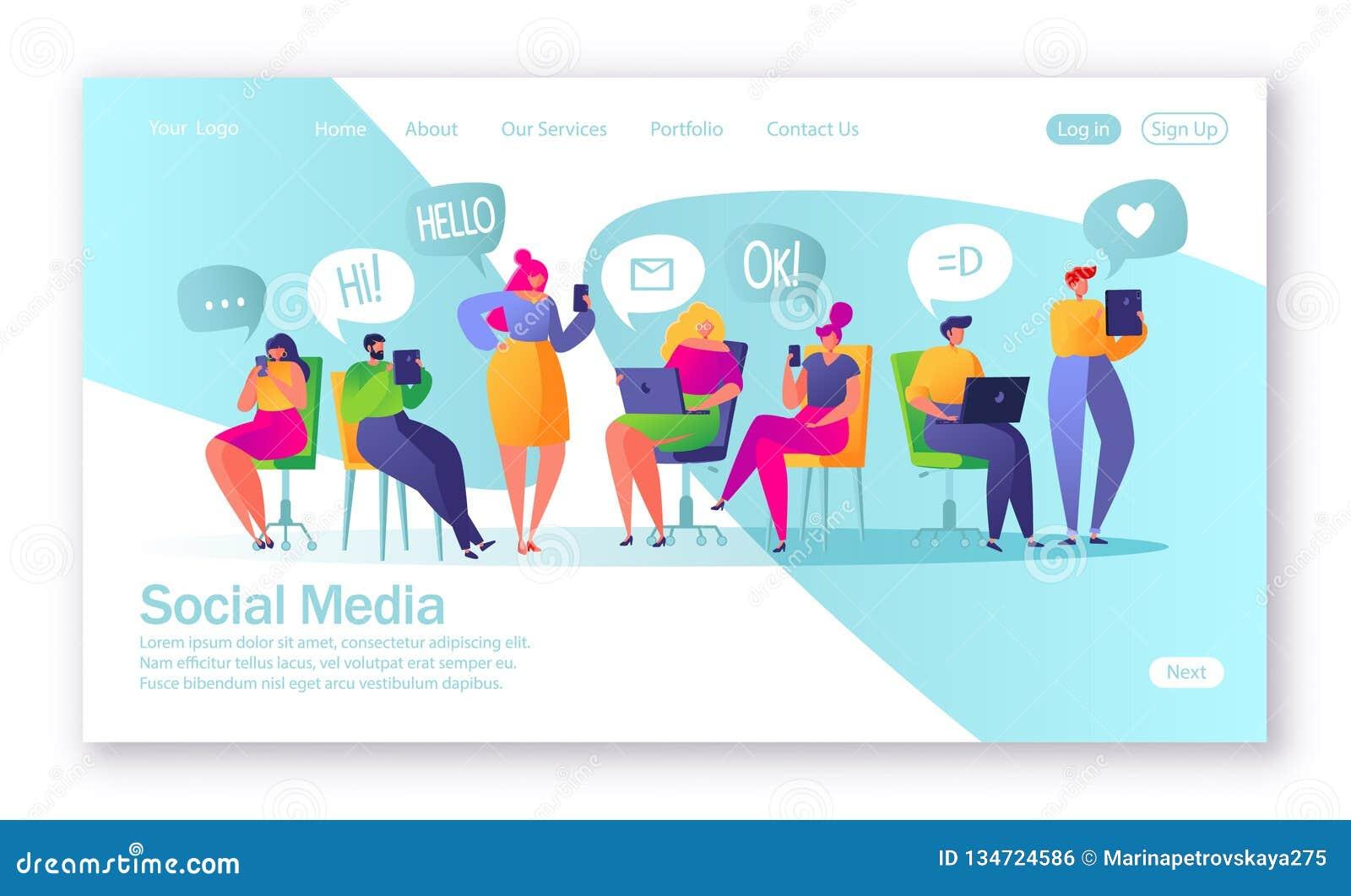 Conceito da página de aterrissagem no tema social dos meios Ilustração do vetor para o desenvolvimento do Web site e o projeto mó