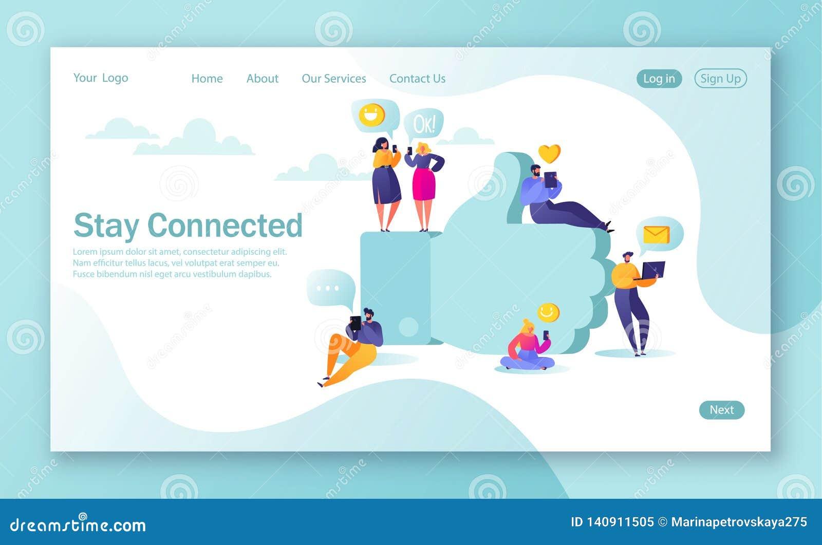 Conceito da página de aterrissagem para o desenvolvimento do Web site e o projeto móveis do página da web Caráteres lisos dos pov