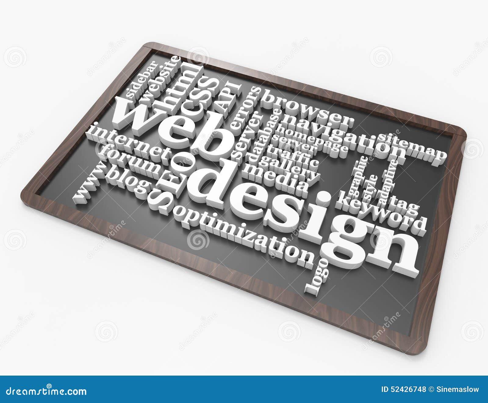 Conceito da palavra do design web no quadro-negro