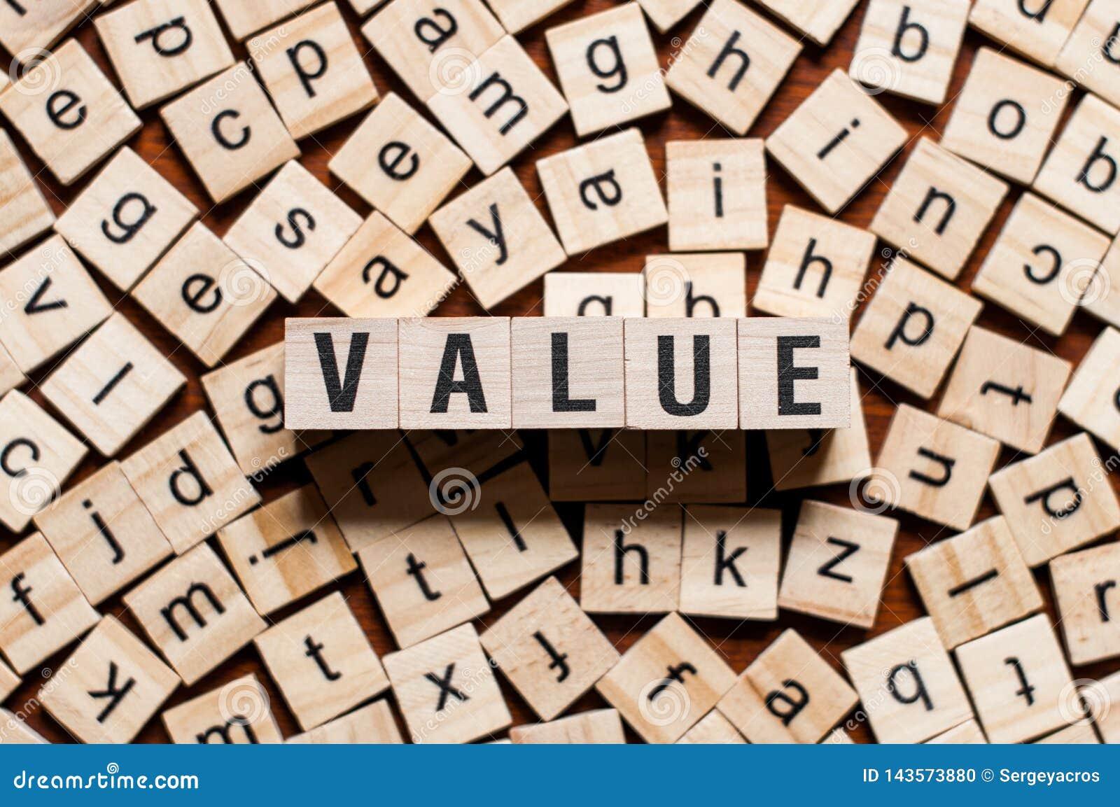 Conceito da palavra do valor