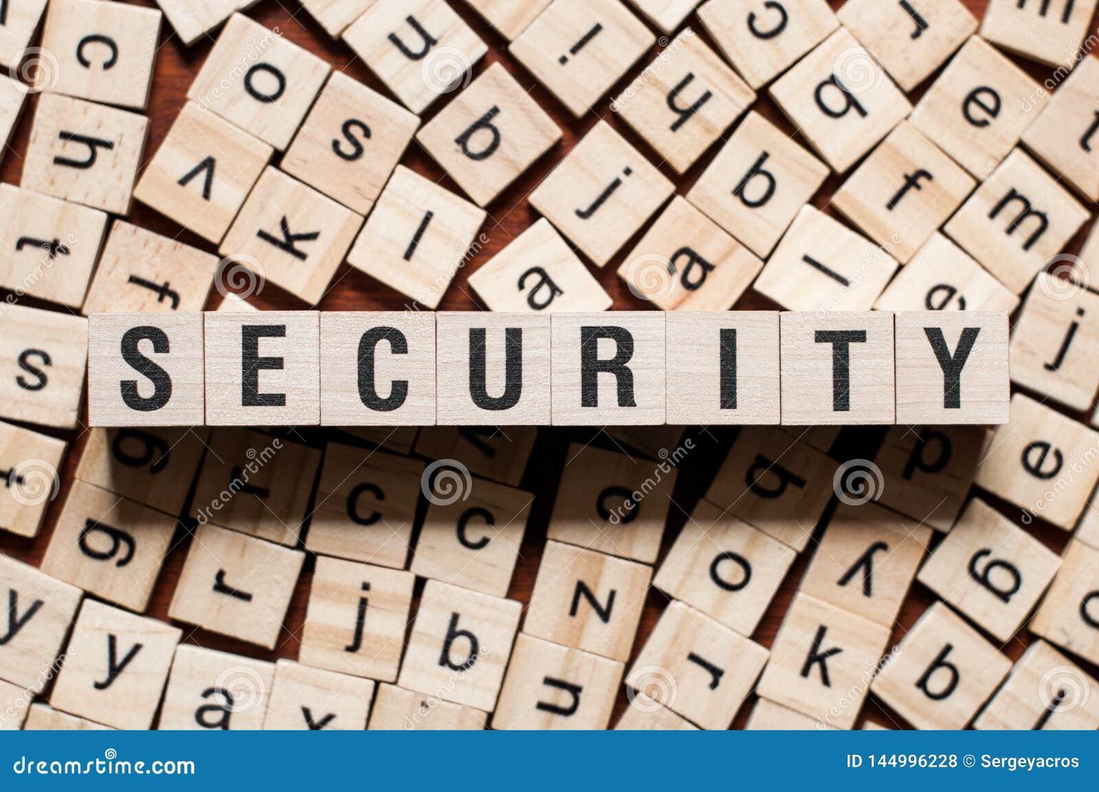 Conceito da palavra da segurança