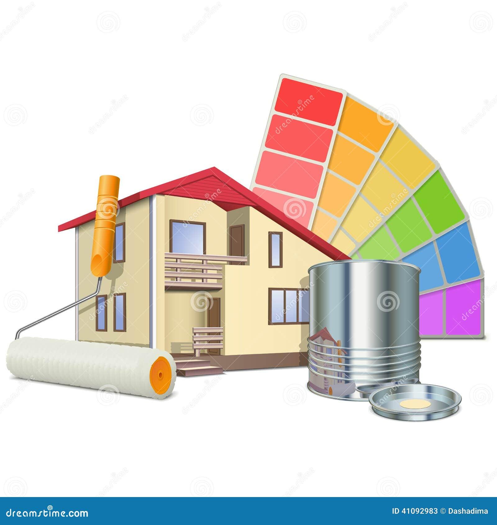 Conceito da pintura do vetor com casa ilustra o do vetor for Pinturas 2016 para casas