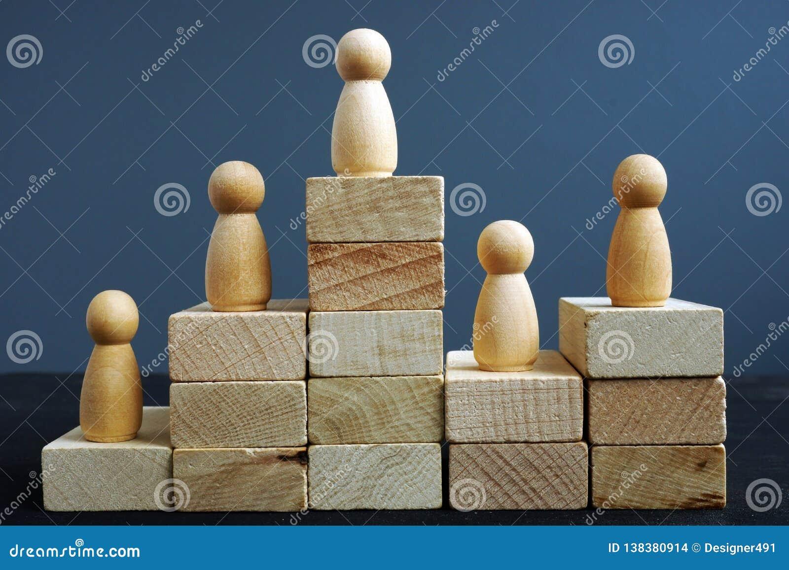 Conceito da produtividade do empregado Blocos e estatuetas de madeira Avaliação na hora