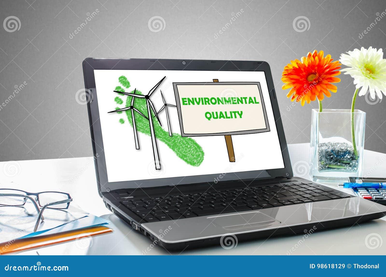 Conceito da qualidade ambiental em uma tela do portátil