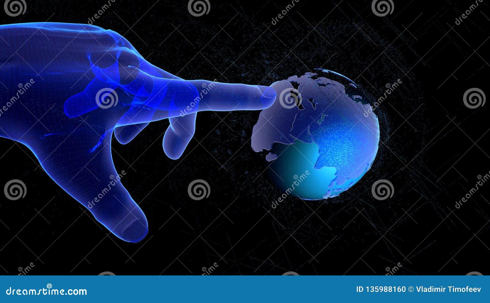 Conceito da rede global ou da tecnologia de comunicação, mão futurista que aponta no globo do wireframe ilustração 3D