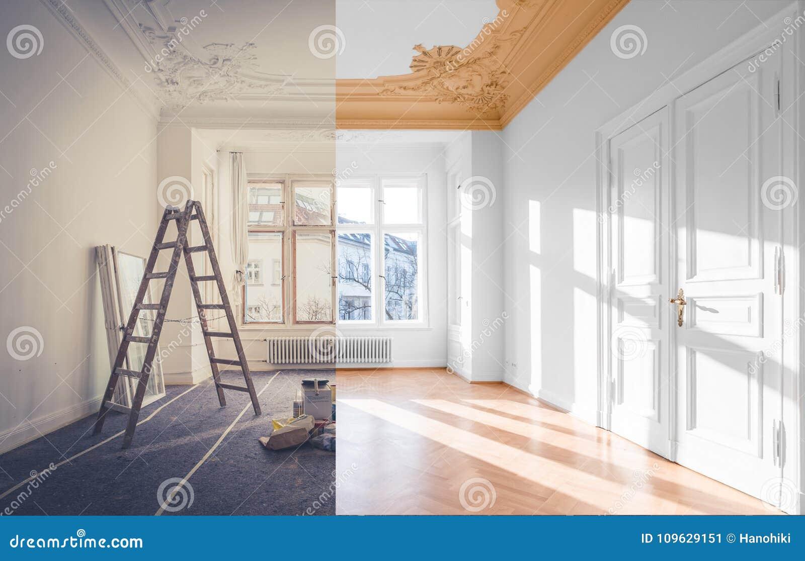 Conceito da renovação - sala antes e depois da renovação,