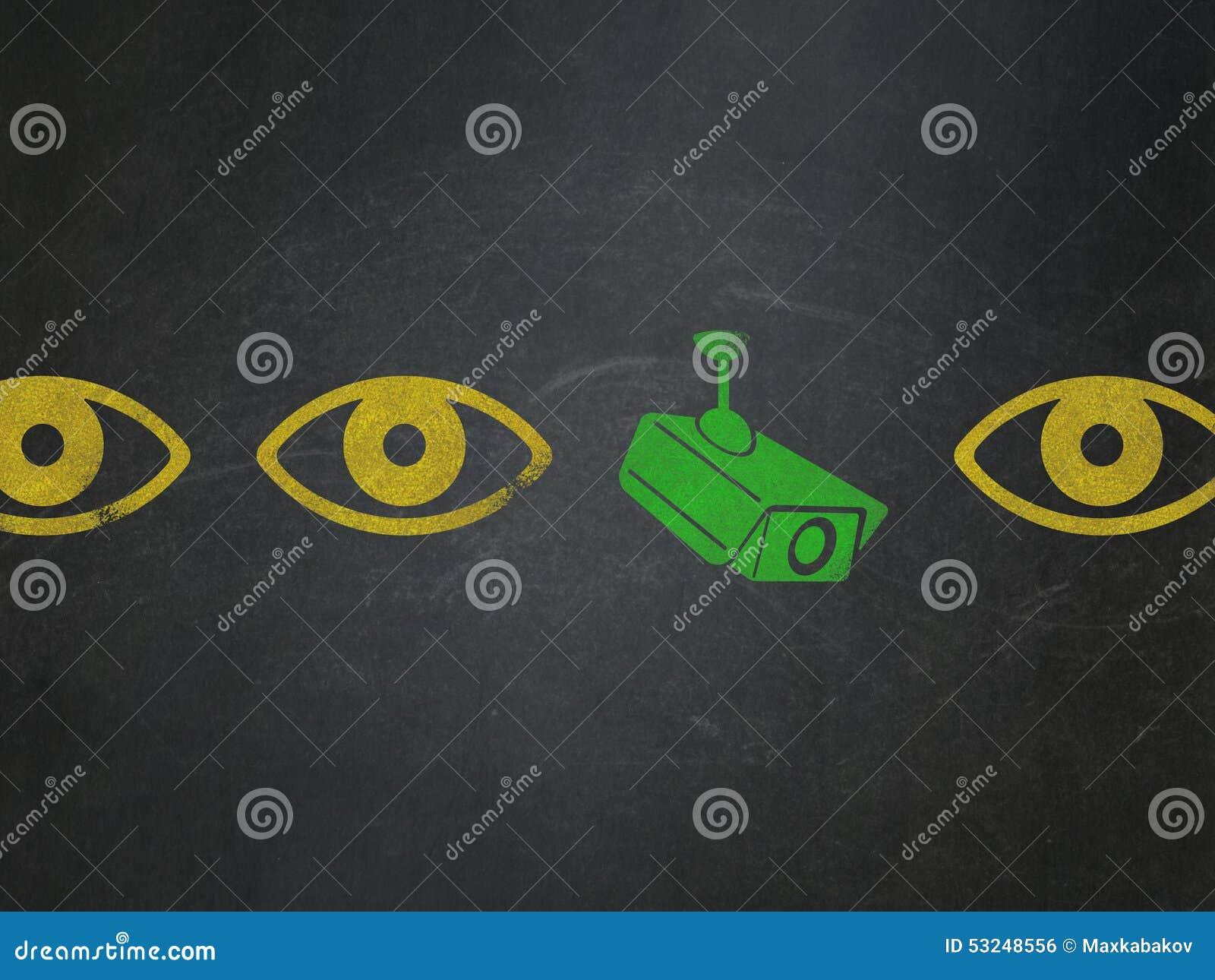 Conceito da segurança: ícone da câmera do cctv na administração da escola