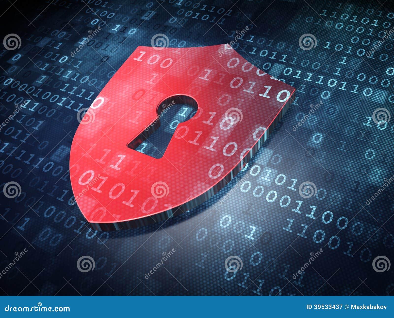 Conceito da segurança: Protetor vermelho com o buraco da fechadura no fundo digital