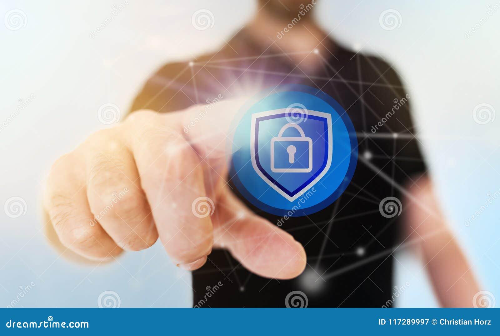 Conceito da segurança da rede com ícone tocante do cadeado do homem de negócios no tela táctil translúcido