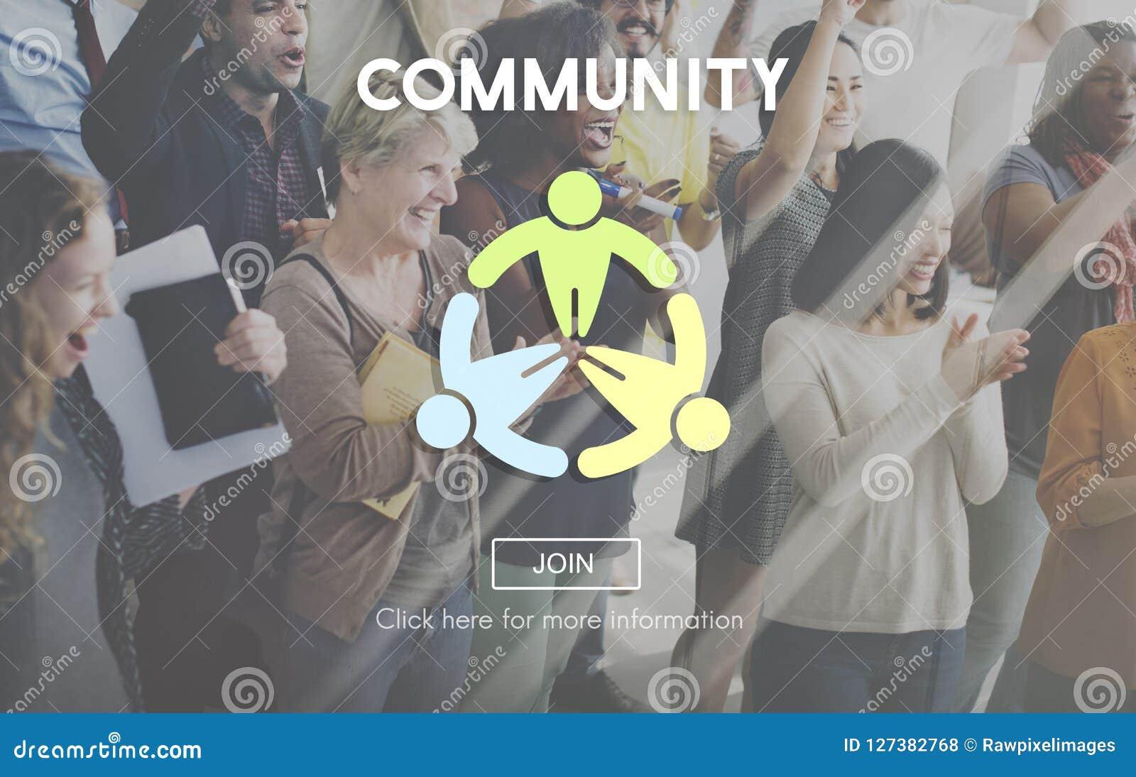 Conceito da sociedade da rede do grupo social da comunidade