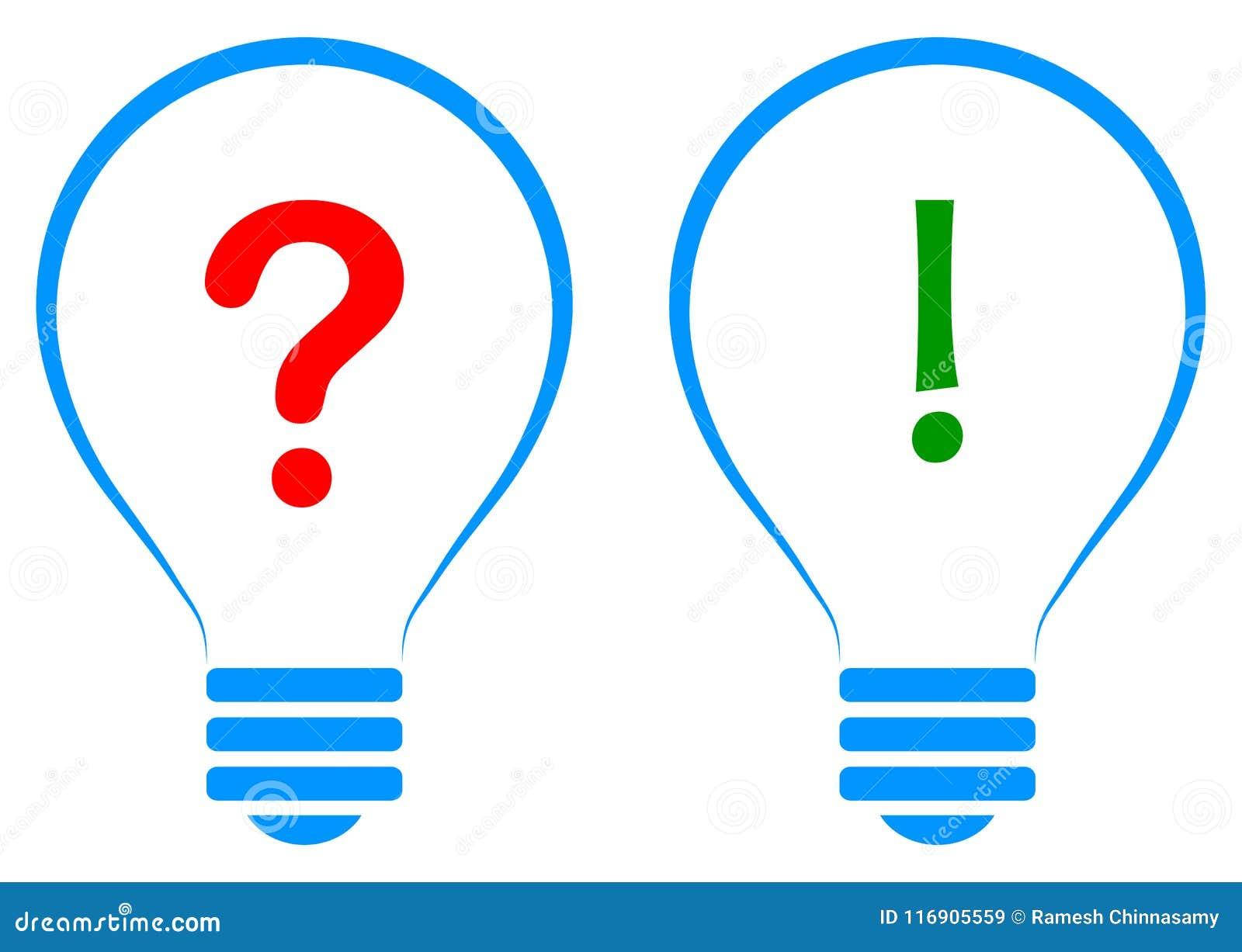 Conceito da solução da ideia da ampola com sinal da pergunta e resposta