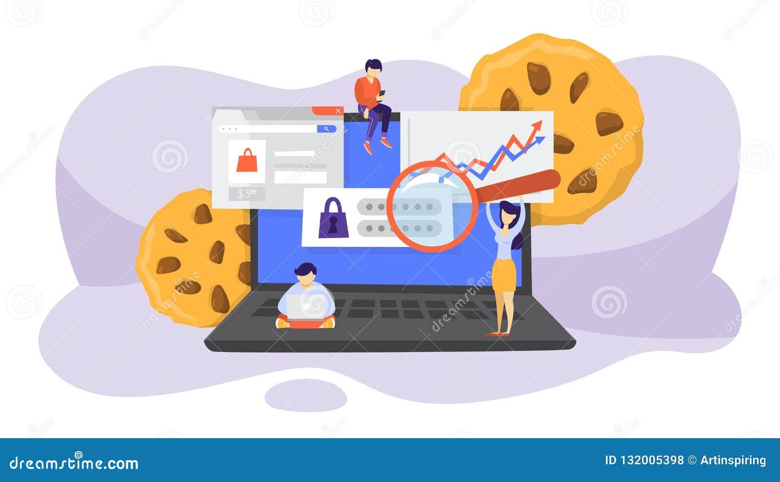 Conceito da tecnologia das cookies do Internet Seguindo surfar do Web site