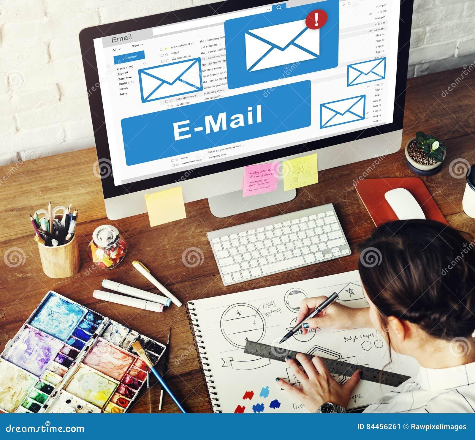 Conceito da tecnologia de comunicação da correspondência do email
