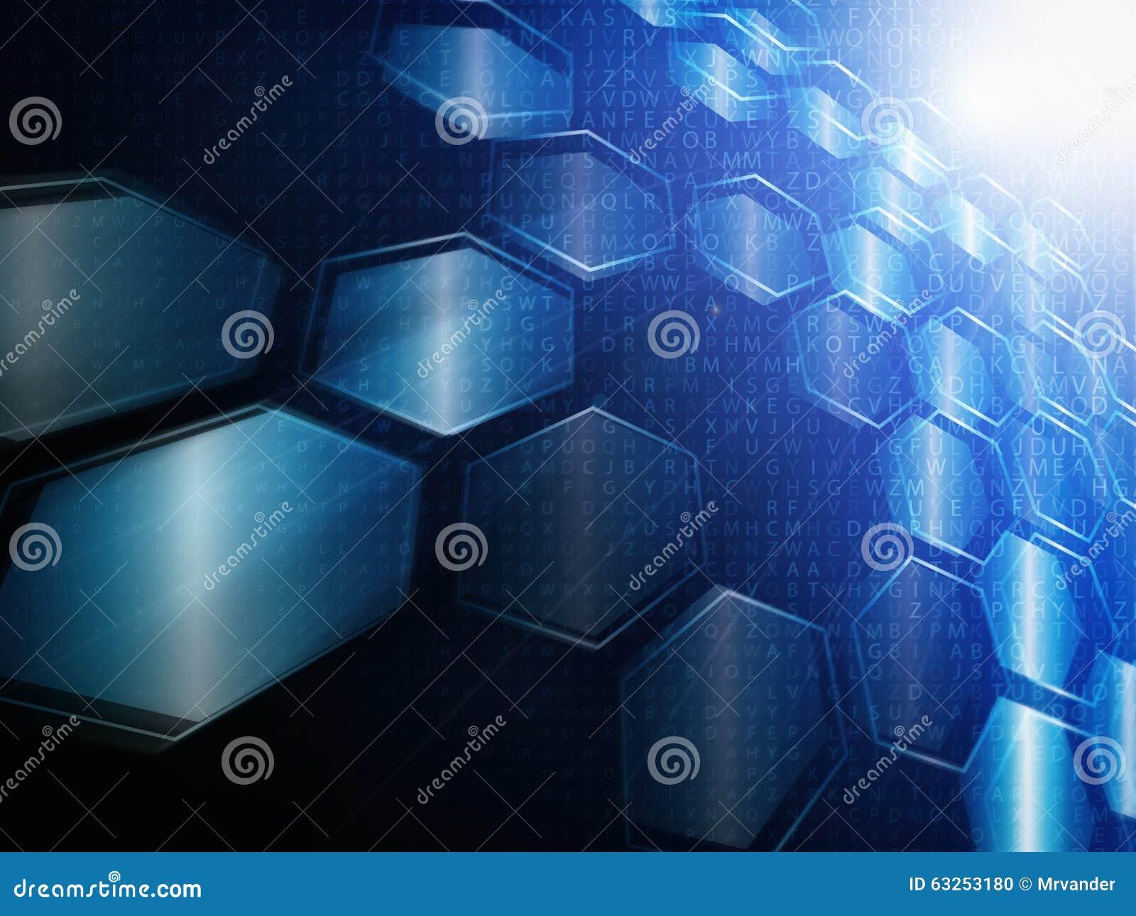 Conceito da tecnologia de Digitas, fundo abstrato com hexágonos