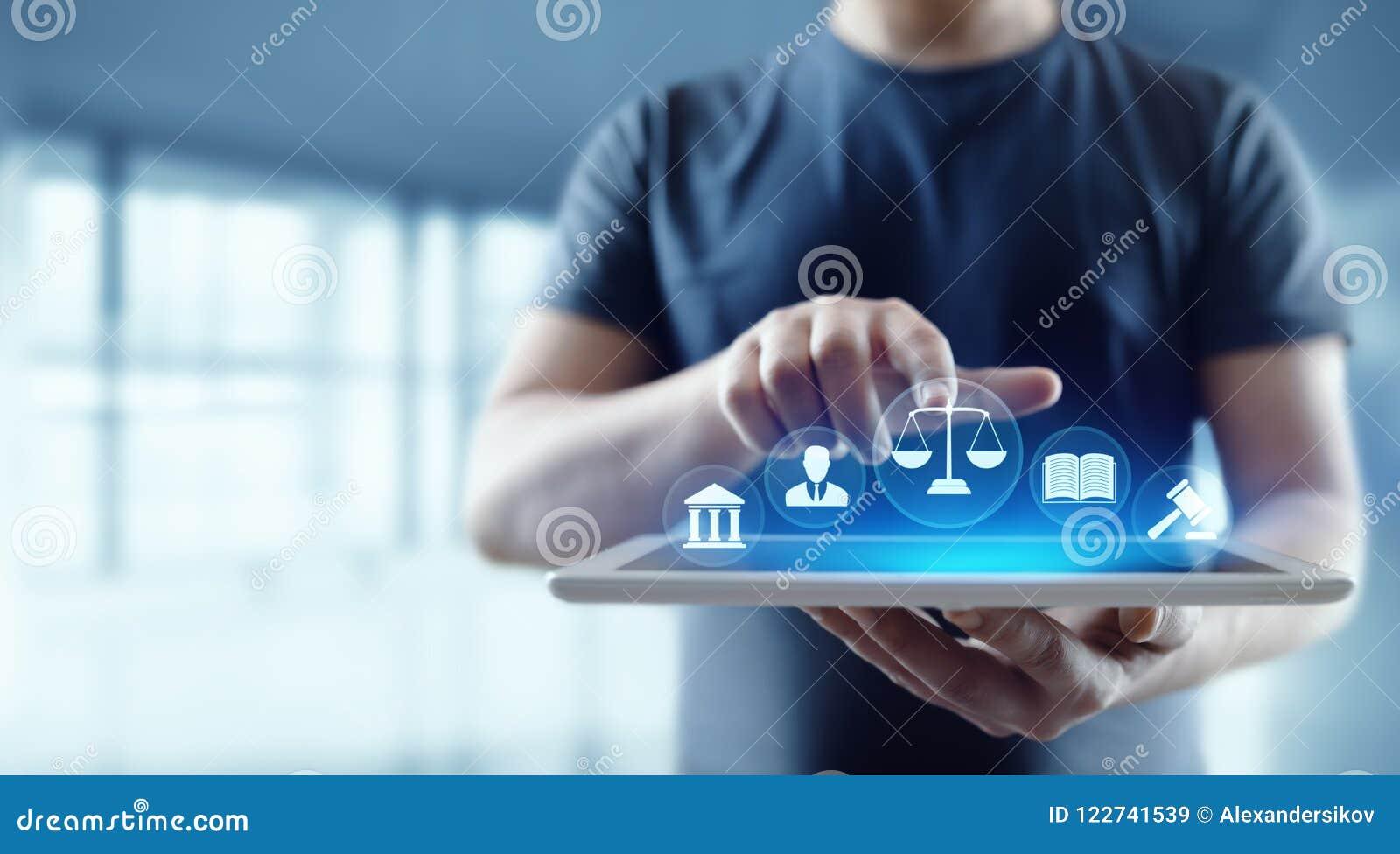 Conceito da tecnologia de Legal Business Internet do advogado da lei laboral