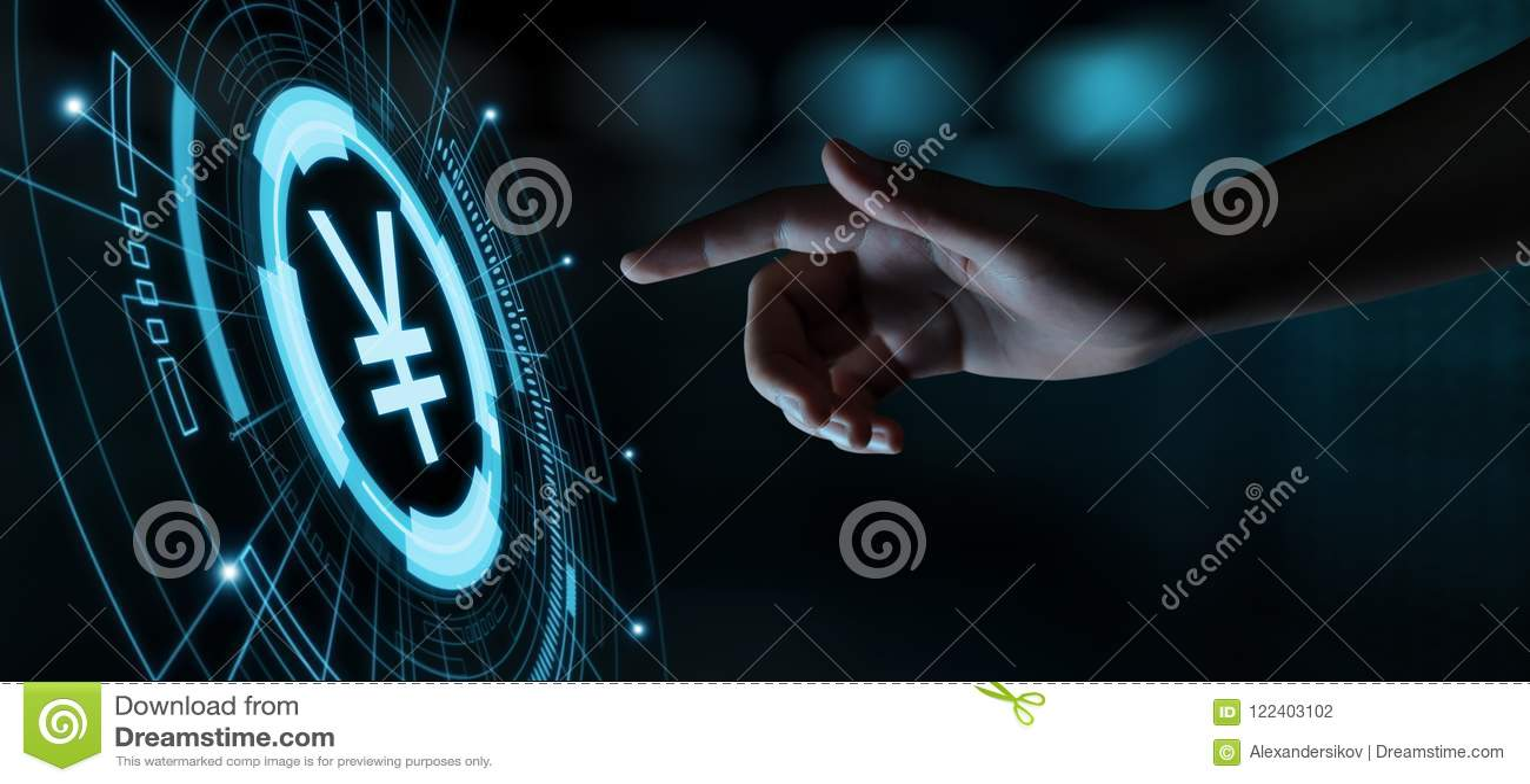 Conceito da tecnologia de Yen Currency Business Banking Finance