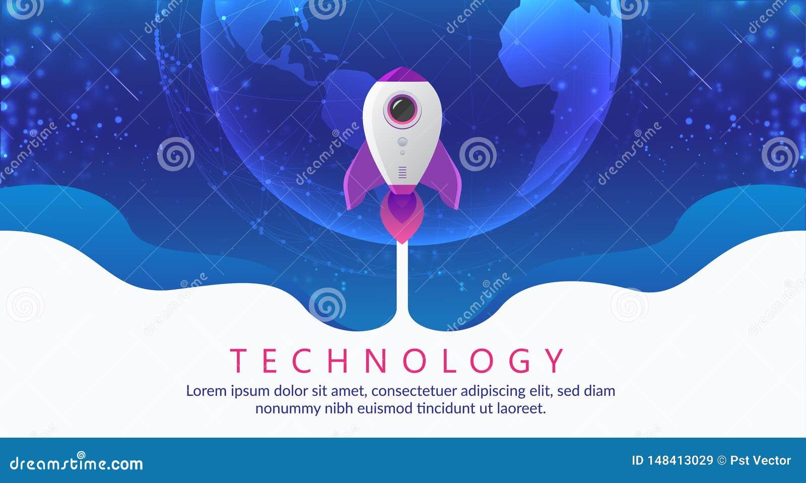 Conceito da tecnologia digital Voo de Rocket a espaçar