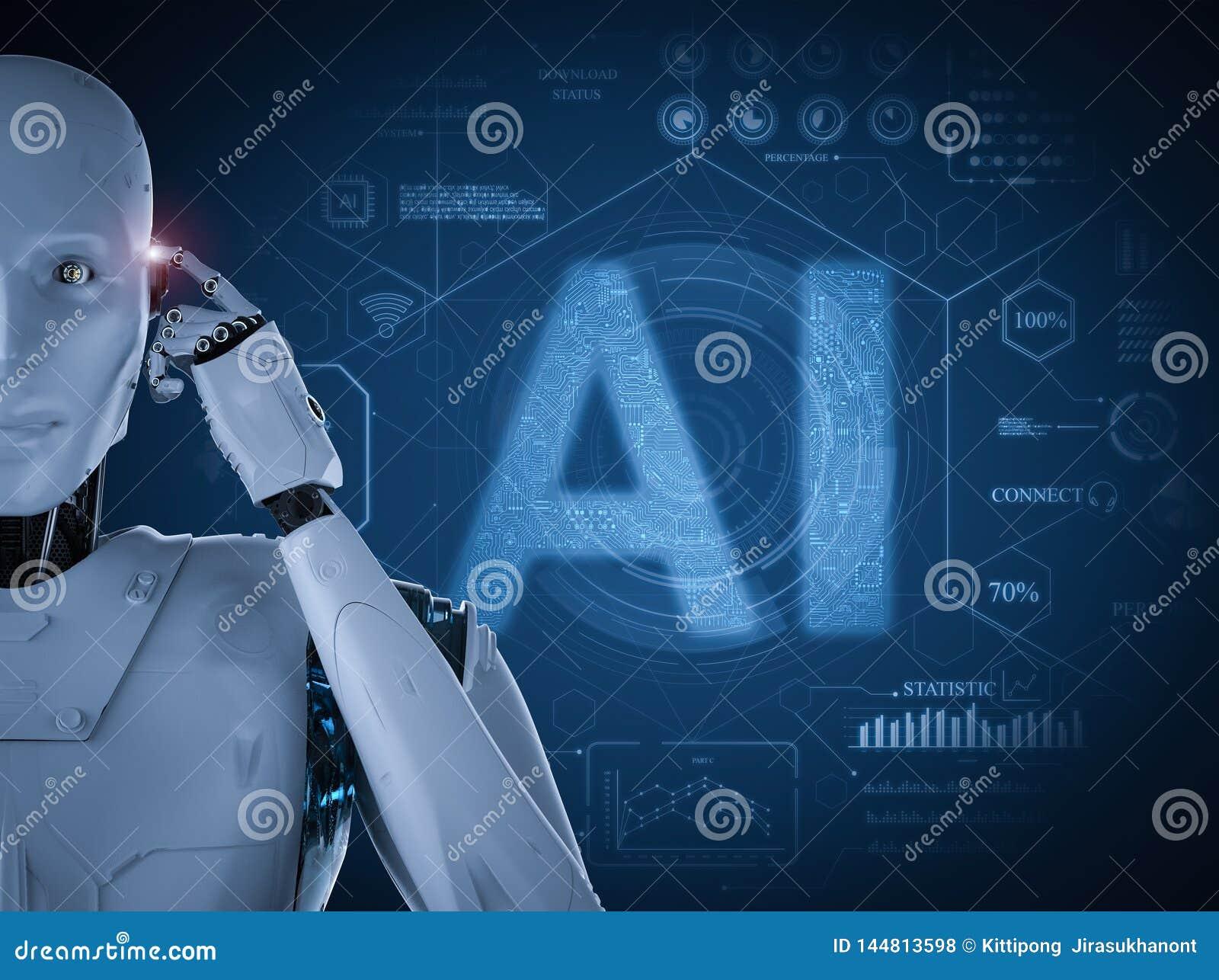 Conceito da tecnologia do AI