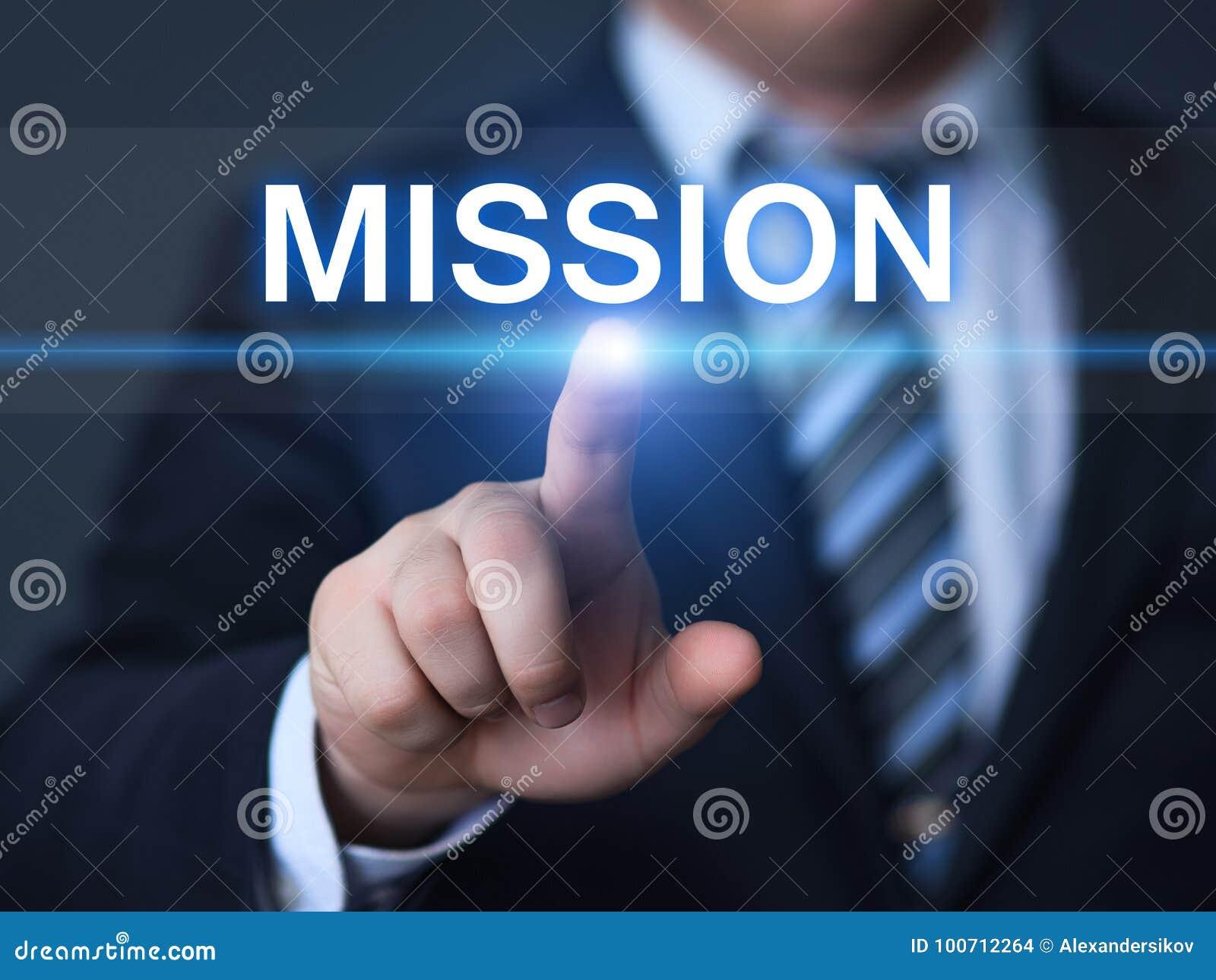 Conceito da tecnologia do Internet do negócio dos objetivos de Missão Visão Estratégia Empresa