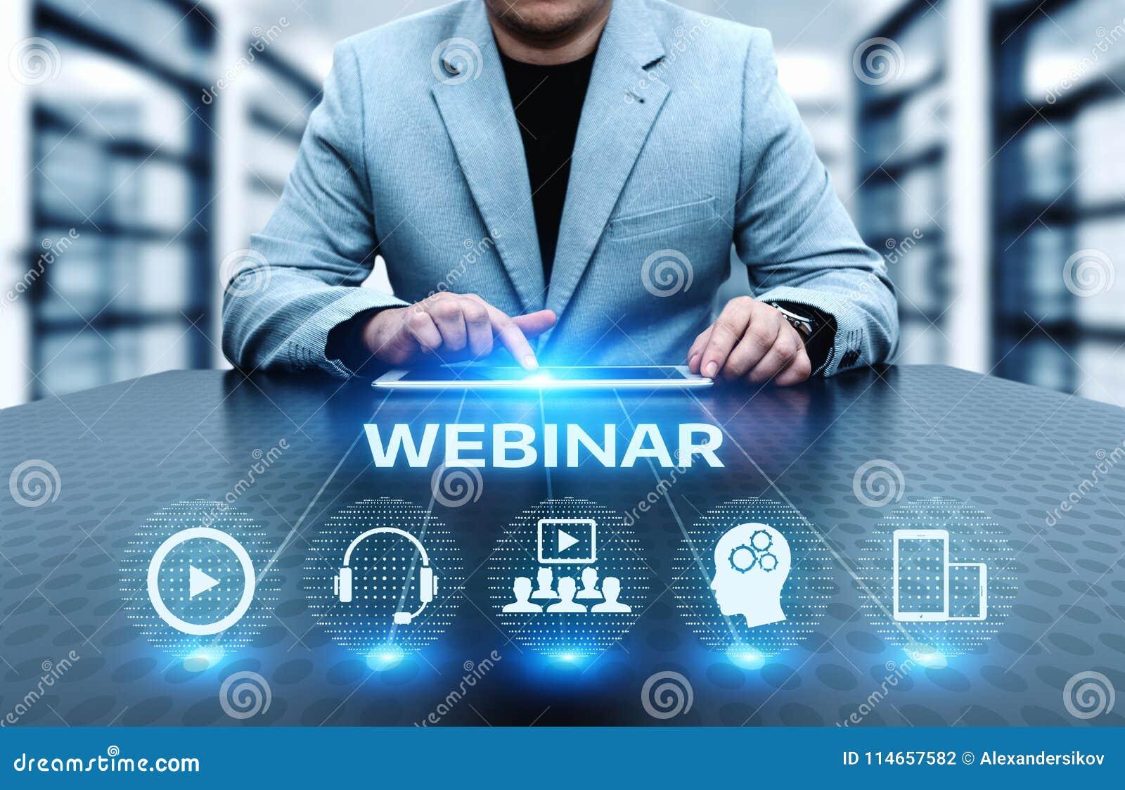 Conceito da tecnologia do Internet do negócio do treinamento do ensino eletrónico de Webinar