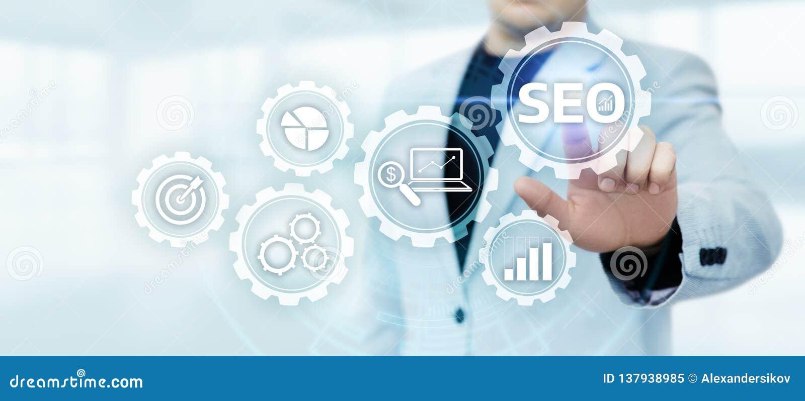 Conceito da tecnologia do negócio do Internet do Web site do tráfego da classificação de SEO Search Engine Optimization Marketing