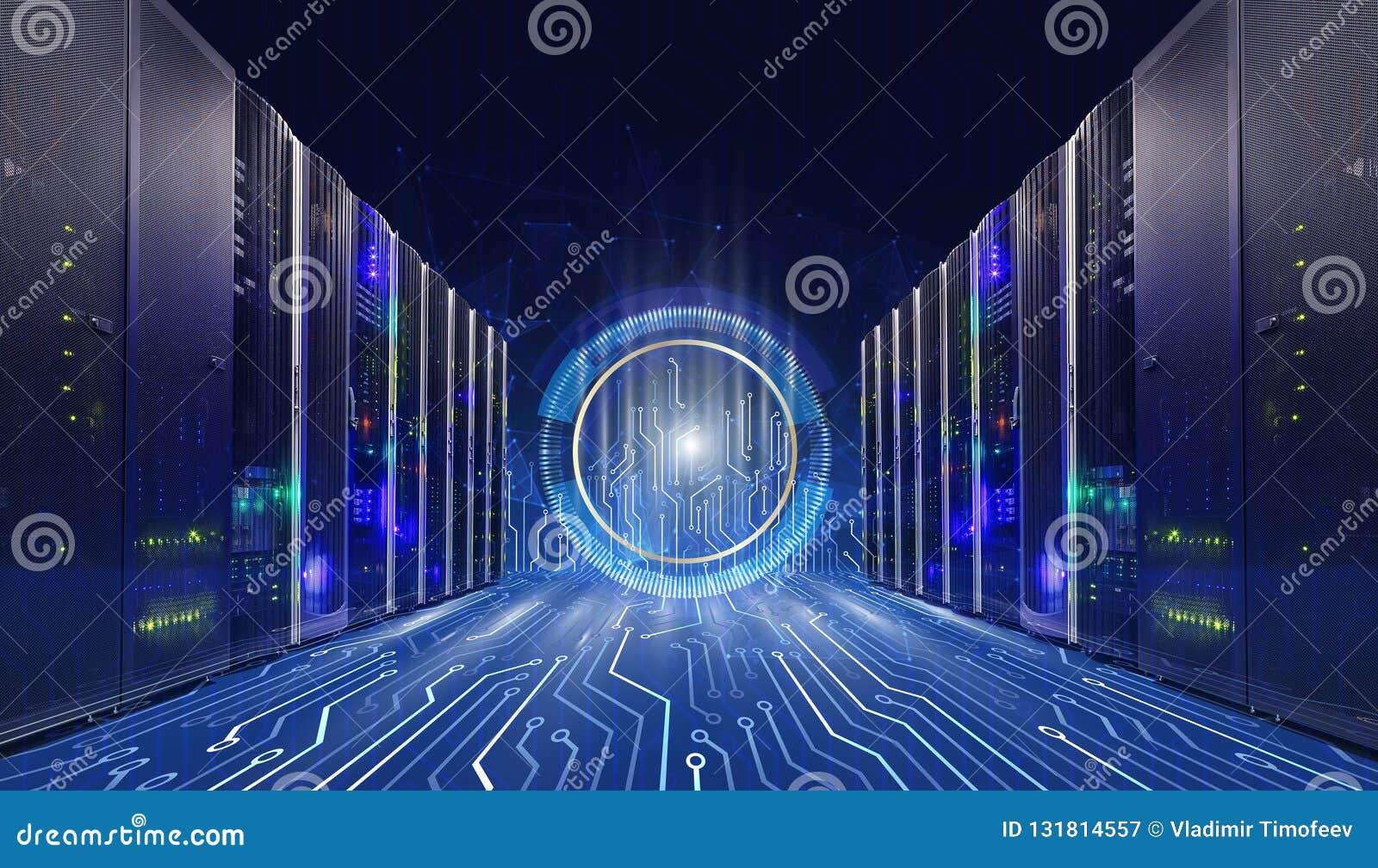 Conceito da tecnologia da informação de dados grandes Sala com conectores do cartão-matriz, fundo do servidor da tecnologia no ce