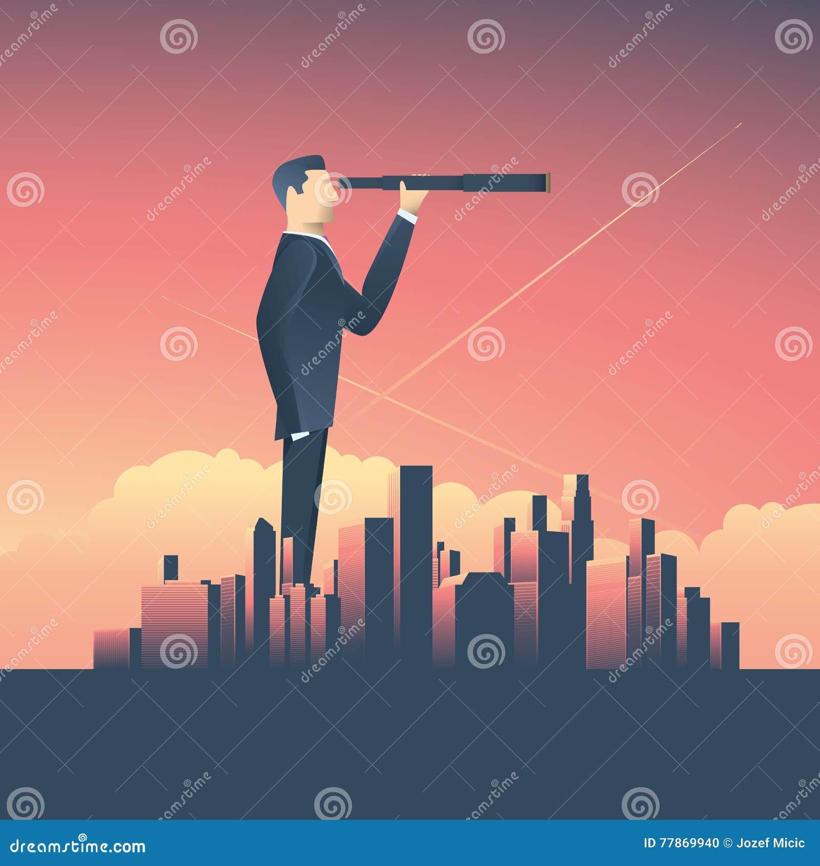 Conceito da visão no negócio com ícone do vetor do homem de negócios e do telescópio, monocular, arquitetura da cidade incorporad