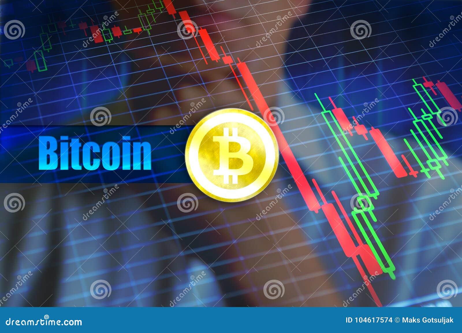 Conceito da volatilidade de Bitcoin Mudança rápida, gráfico de queda do preço do bitcoin