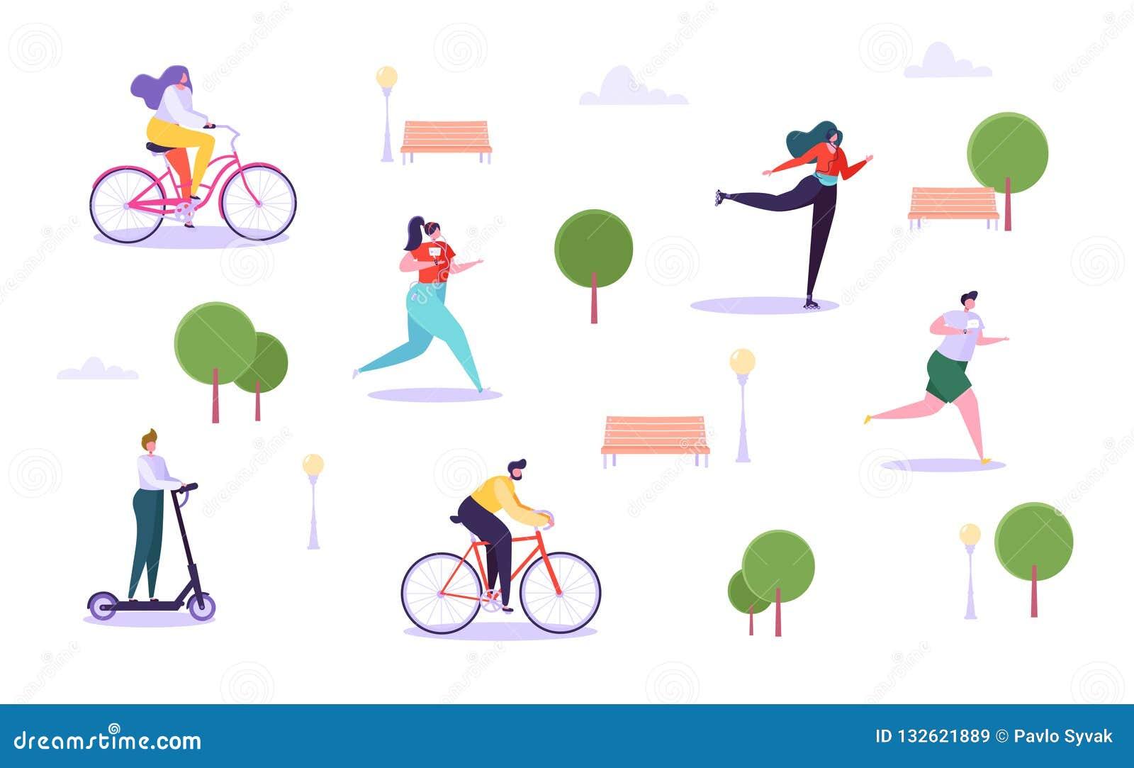 Conceito das atividades exteriores do lazer Caráteres ativos que correm na bicicleta da equitação do parque, do homem e da mulher