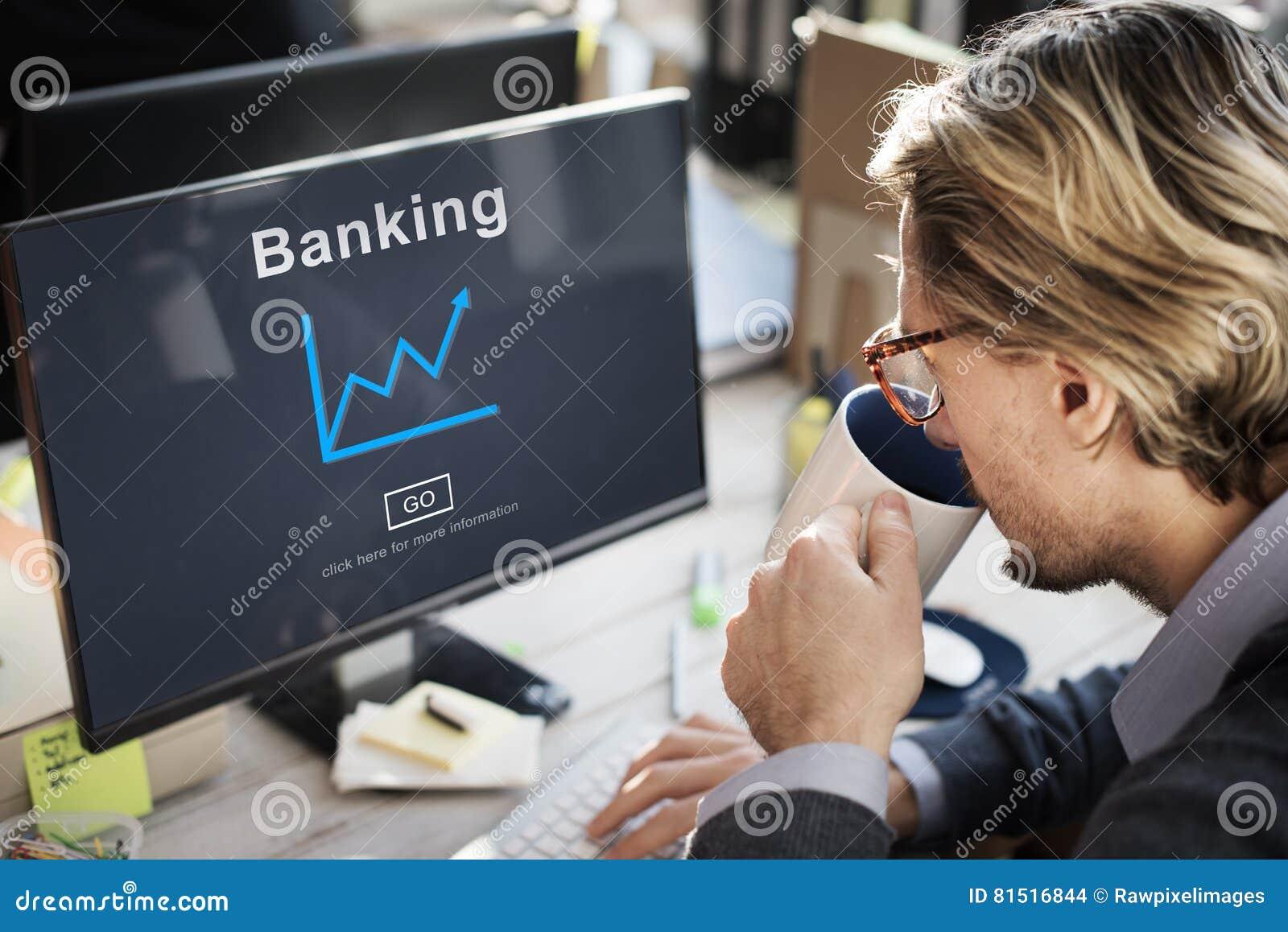 Conceito de Banking Growth Graphics do homem de negócios