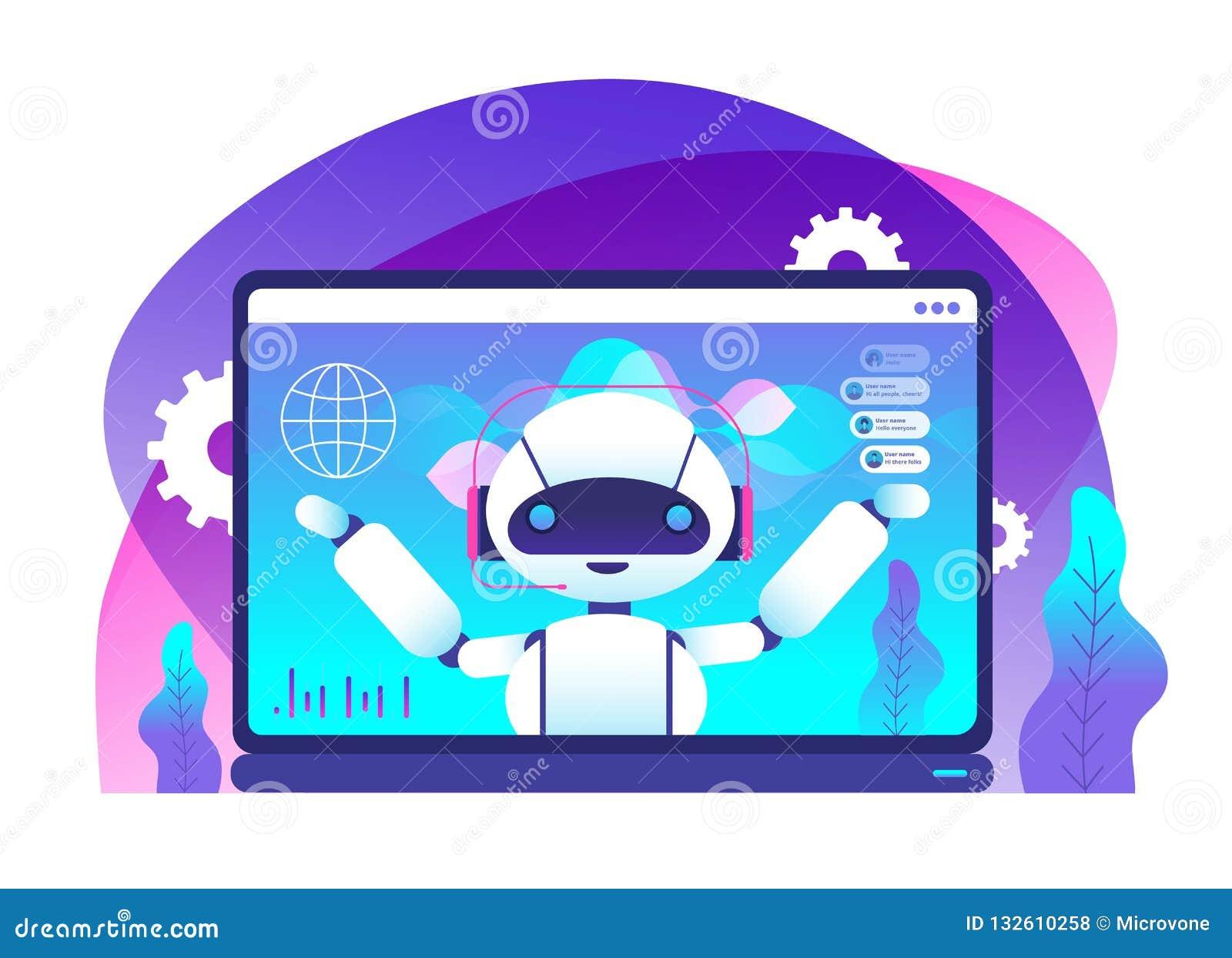 Conceito de Chatbot Clientes dos conselhos do robô do Ai Serviço ao cliente da linha de apoio ao cliente Apoio virtual e vetor mó