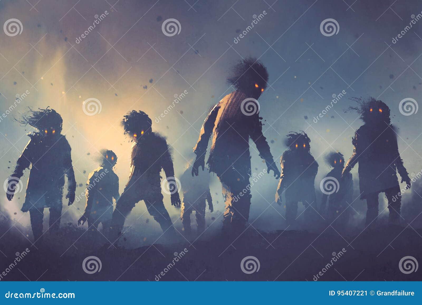 Conceito de Dia das Bruxas da multidão do zombi que anda na noite