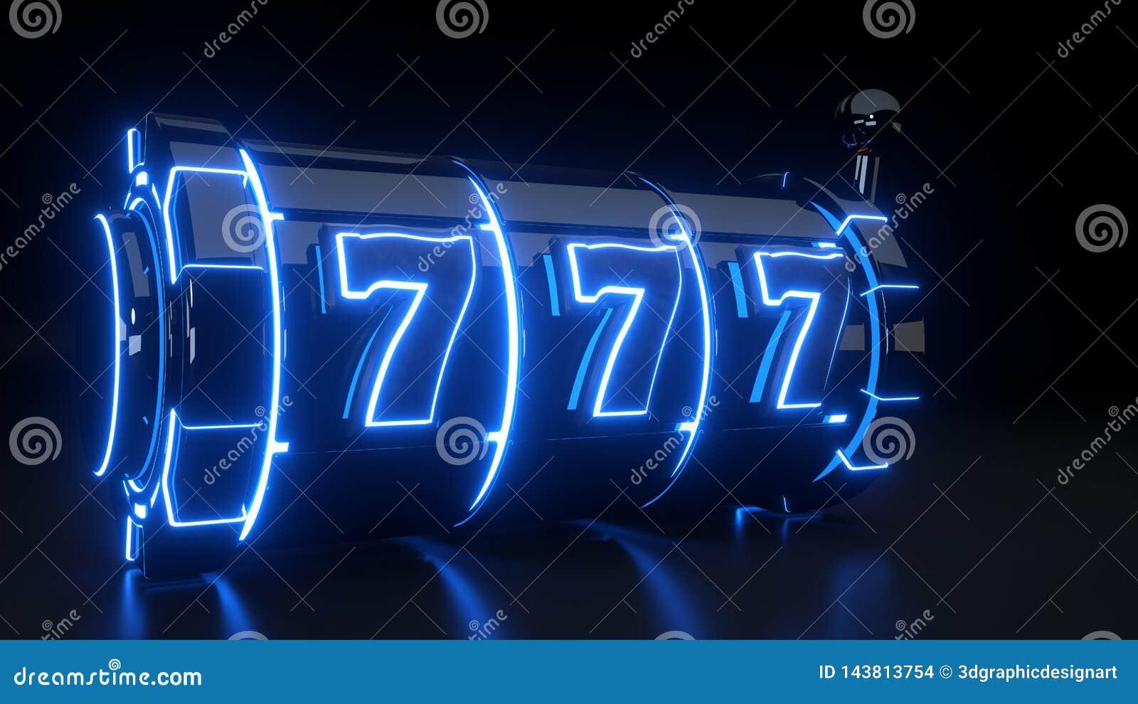 Conceito de jogo do slot machine do casino com as luzes azuis de néon isoladas no fundo preto - ilustração 3D