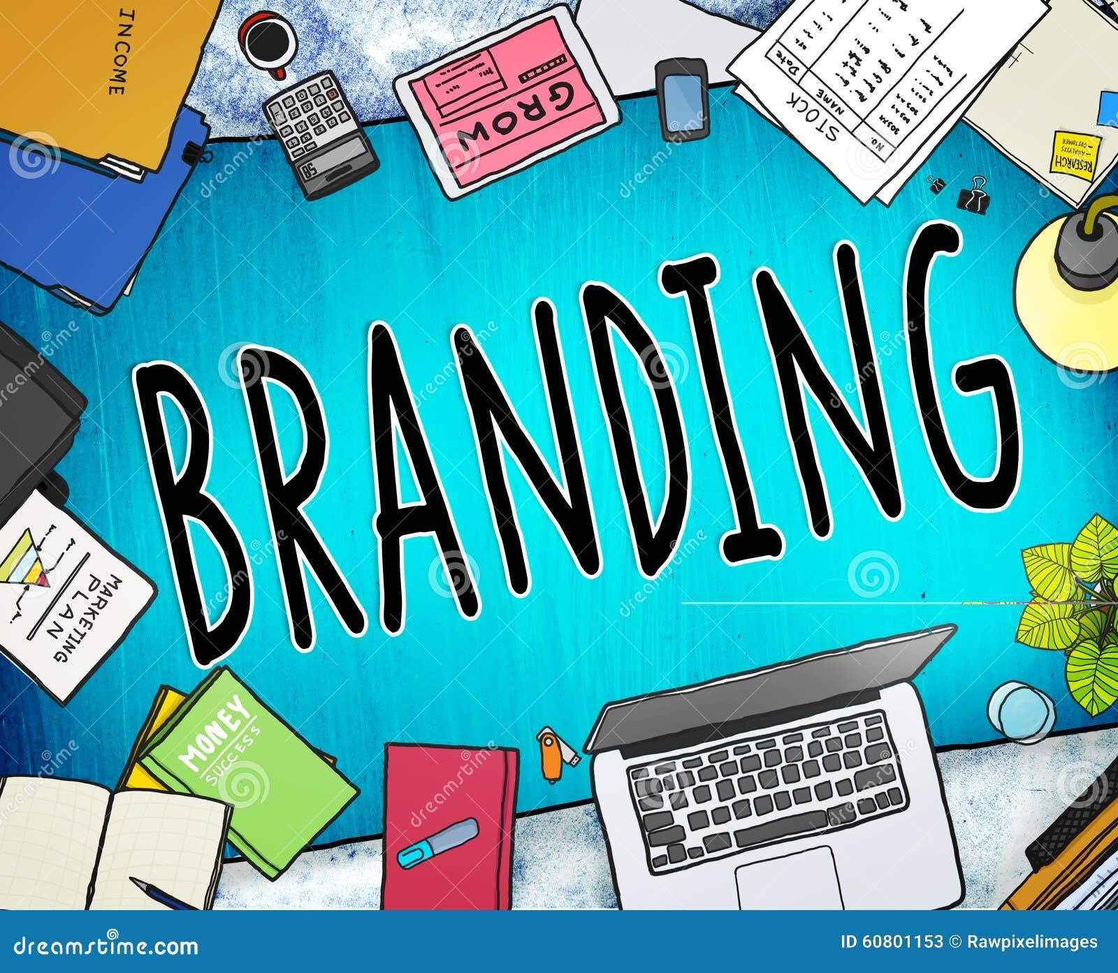 Conceito de marcagem com ferro quente da identidade da estratégia empresarial do mercado de tipo