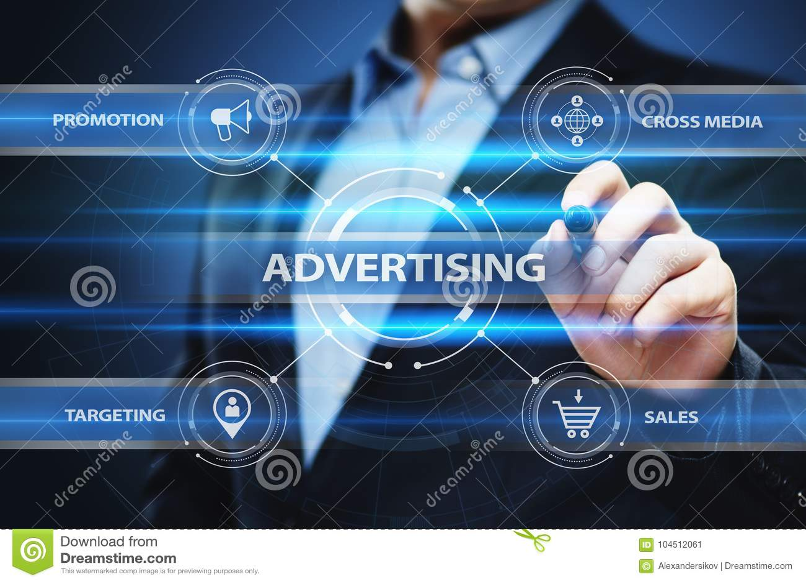 Conceito de marcagem com ferro quente da tecnologia do negócio do plano de marketing da propaganda