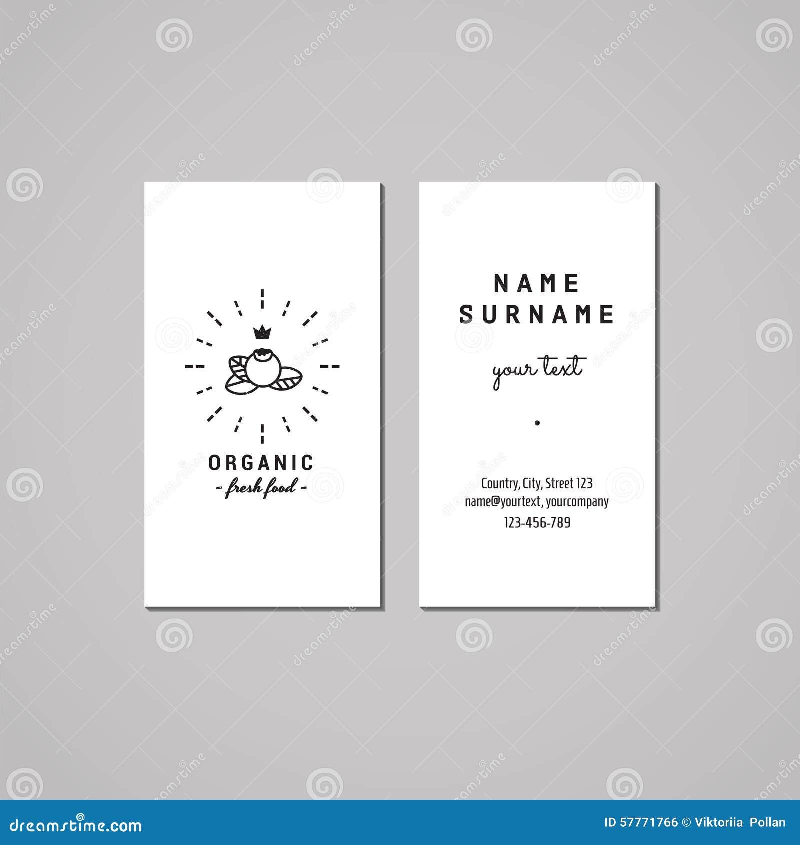 Conceito de projeto do cartão do alimento biológico Logotipo do alimento com mirtilo, coroa e raios Vintage, moderno e estilo ret