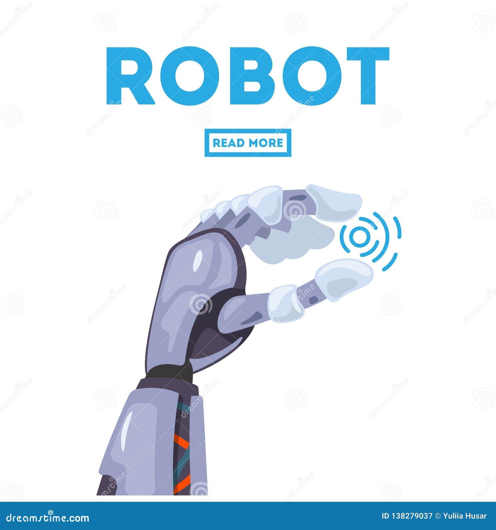 Conceito de projeto futurista de um braço mecânico robótico Mão robótico Símbolo mecânico da engenharia da máquina da tecnologia