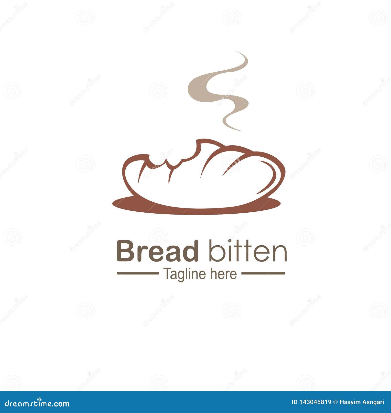 Conceito de projeto mordido pão do logotipo