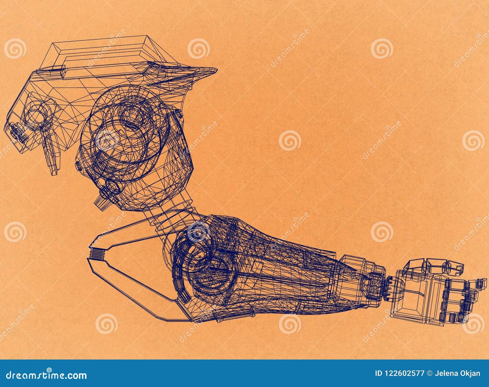 Conceito de projeto robótico do braço - arquiteto retro Blueprint