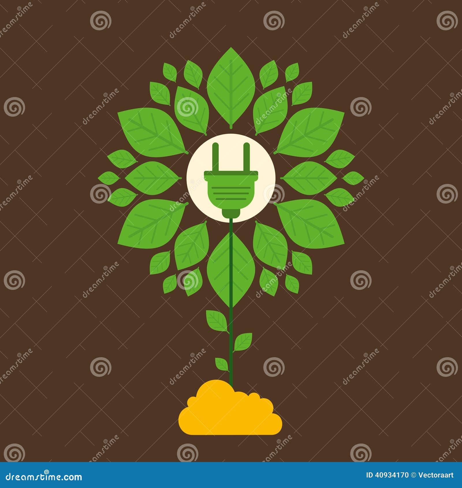 Conceito de projeto verde criativo da planta da energia