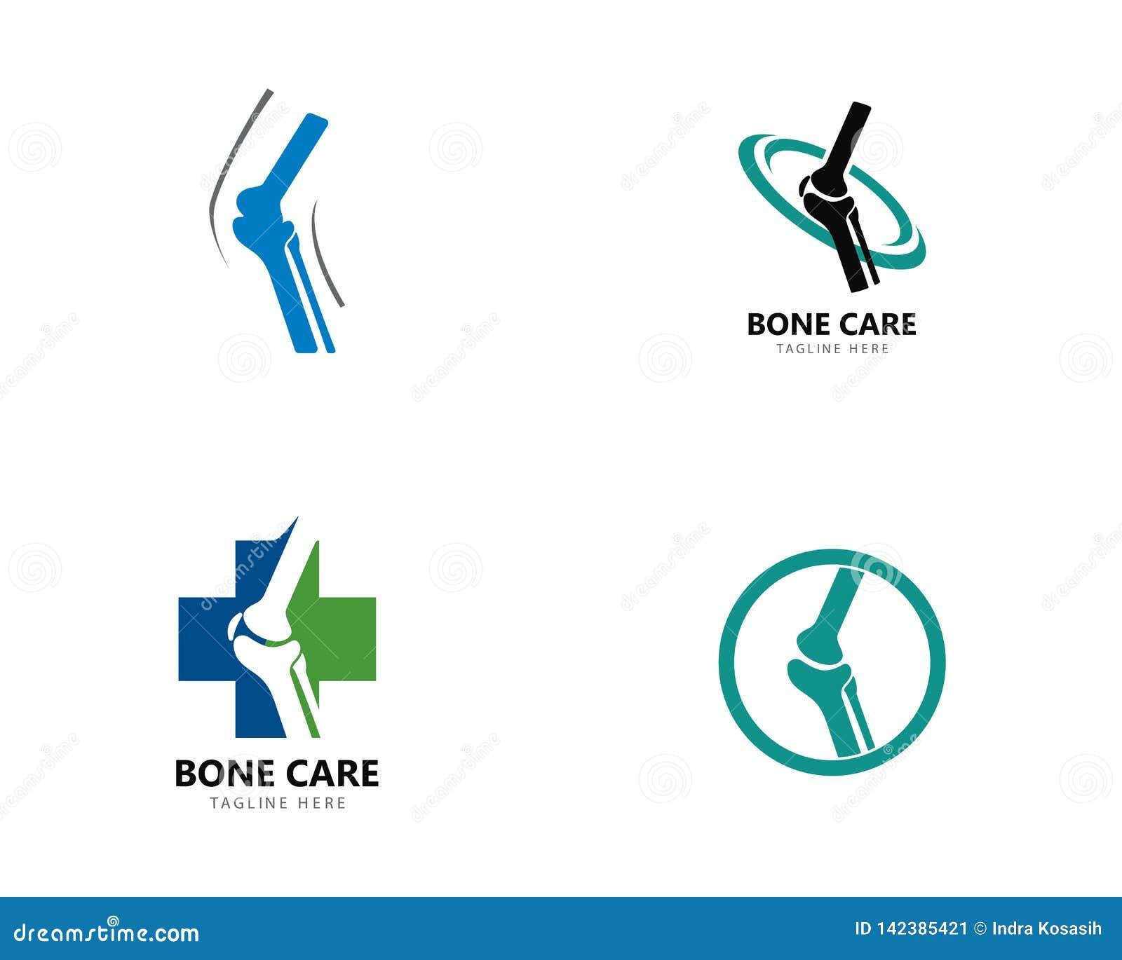 Conceito de projetos do logotipo da saúde do osso, vetor do tratamento do osso